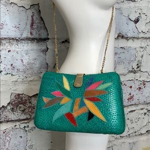 Vintage 80s basket clutch purse